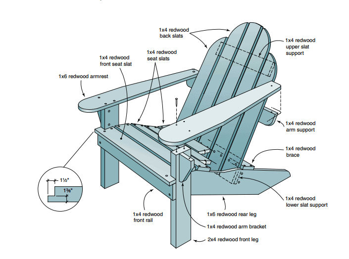 Redwood Adirondack Chair
