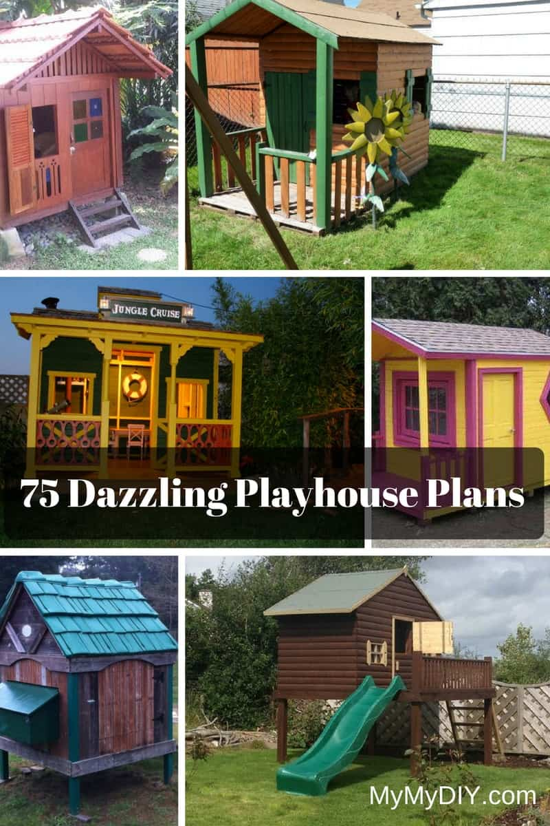75 dazzling diy playhouse plans free mymydiy inspiring diy