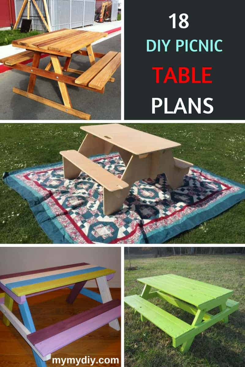 18 family fun diy picnic tables list mymydiy inspiring diy diy picnic table plans and blueprints malvernweather Images