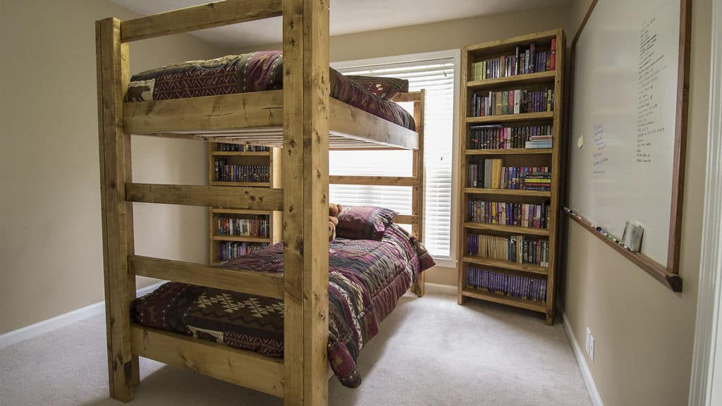 The Cool Pine Laddered Bunk Bed Idea