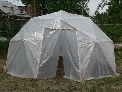 the geodesic dome sheeting greenhouse build - Dome Greenhouse Designs