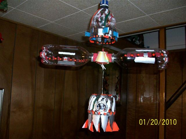 RECYCLED BOTTLE WHIRLIGIG SPACE SHUTTLE-COPTER
