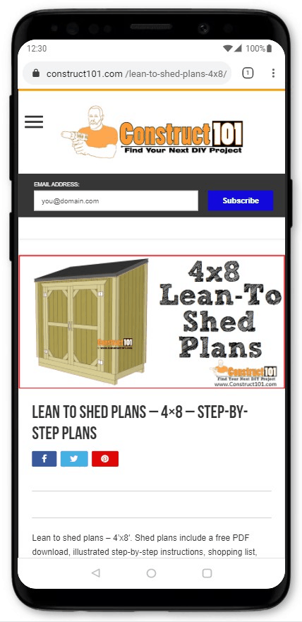 Lean To Shed Plans - 4x8 - Step-By-Step Plans
