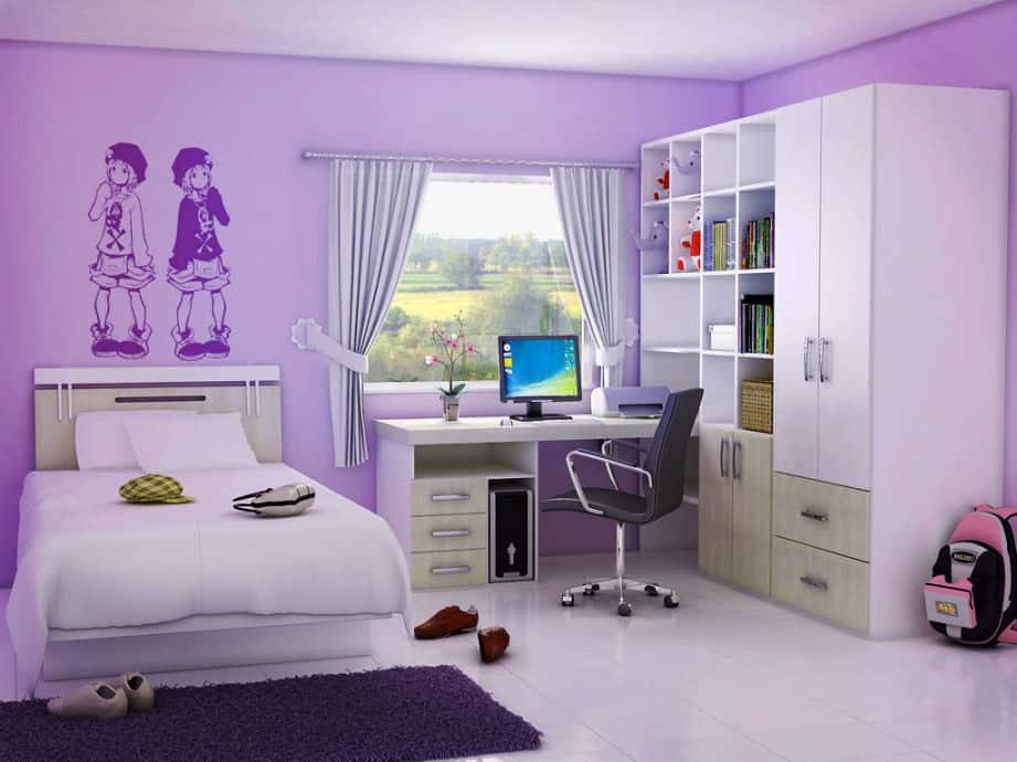 girls purple bedroom