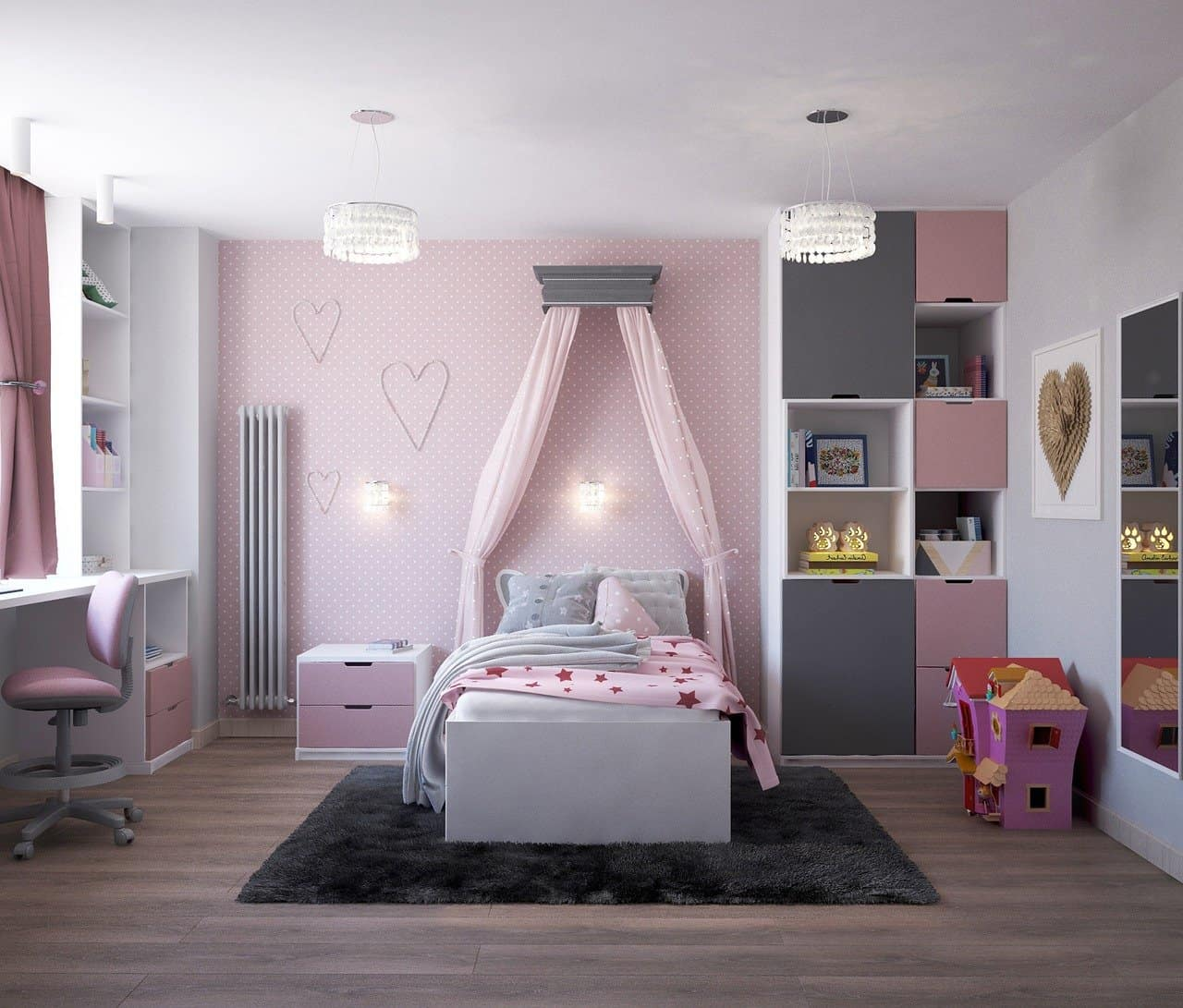 pink purple children's bedroom