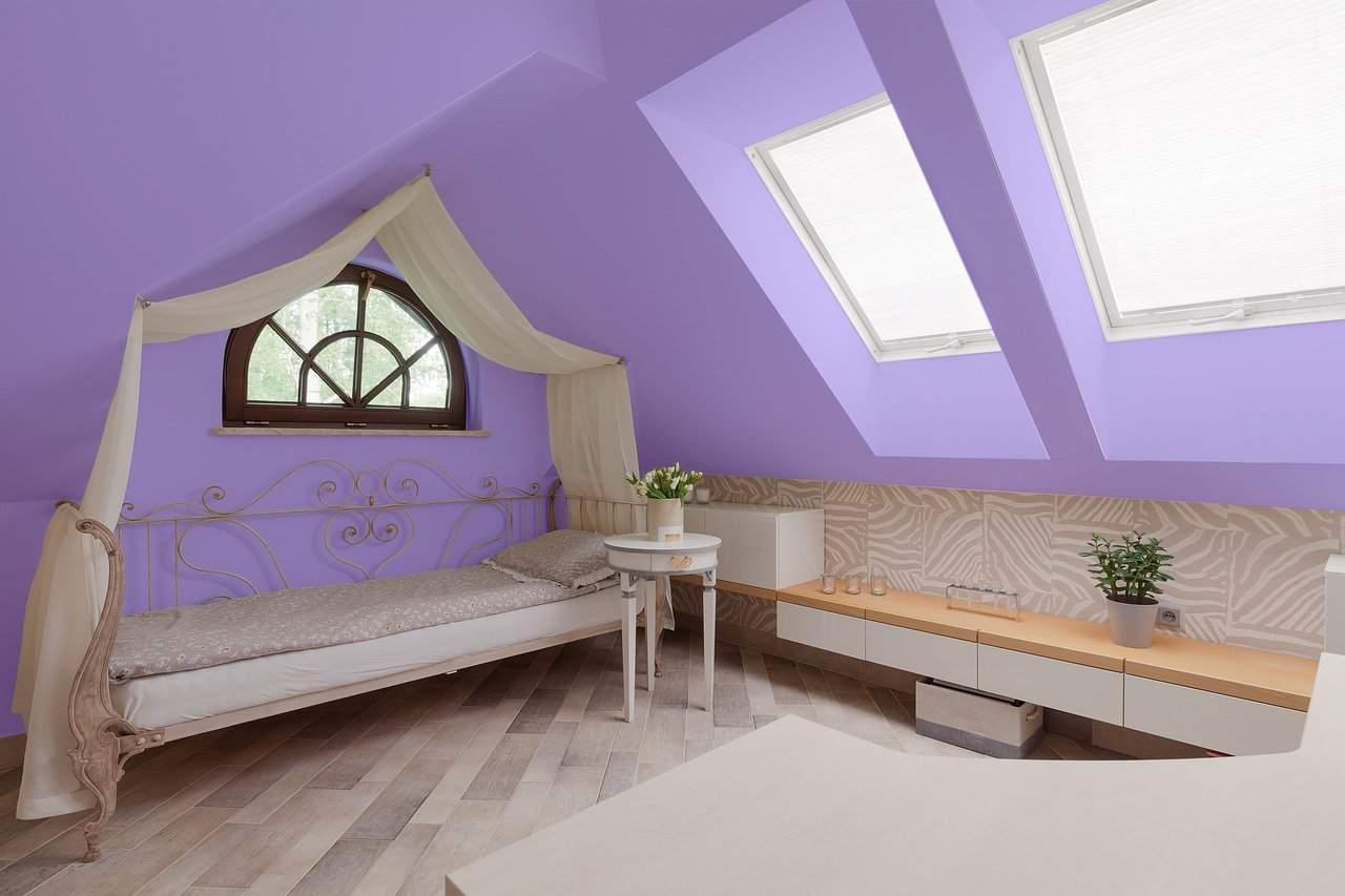 purple attic bedroom